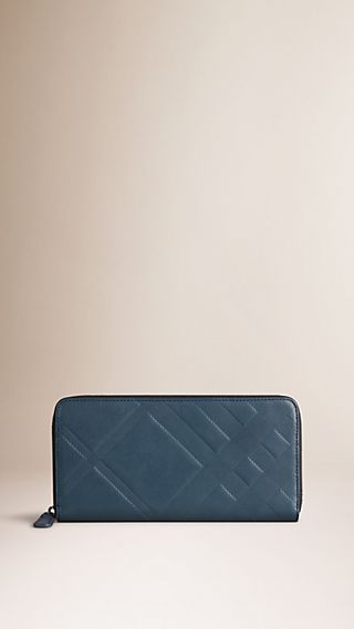 Check-embossed Leather Ziparound Wallet