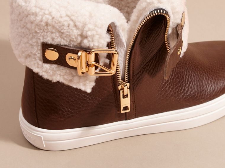 Shearling-lined Leather Ankle Boots - cell image 1