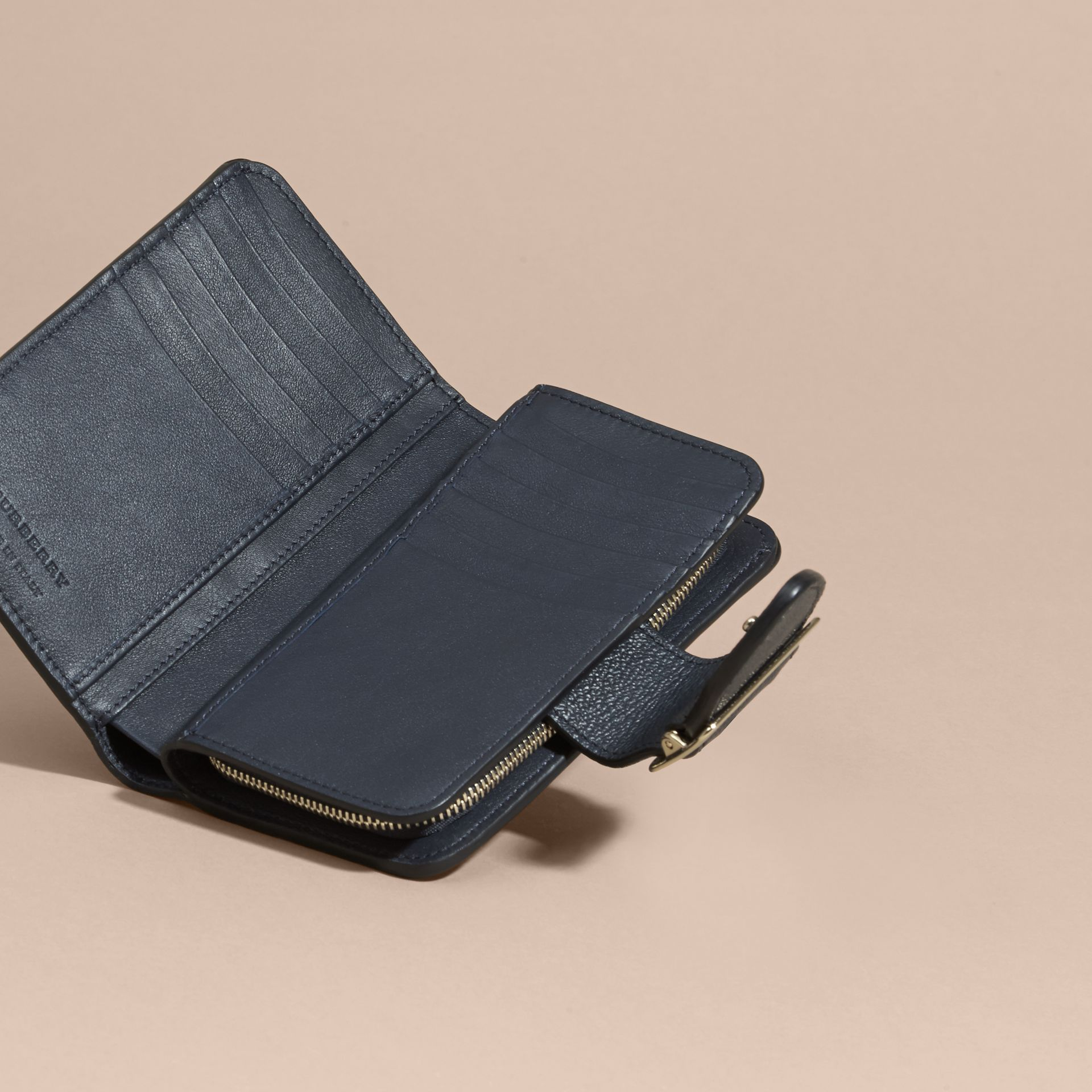 Blue carbon Buckle Detail Grainy Leather Wallet Blue Carbon - gallery image 5