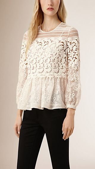 Floral Lace and Mesh Blouse