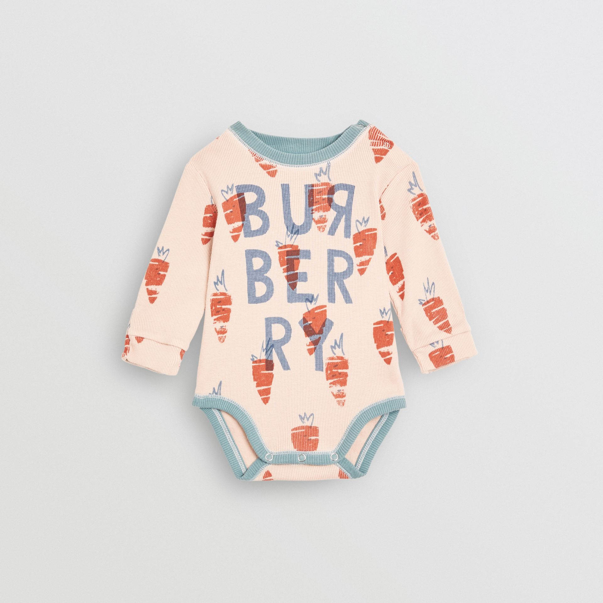 Carrot Print Cotton Bodysuit in Stone - Children | Burberry - gallery image 0