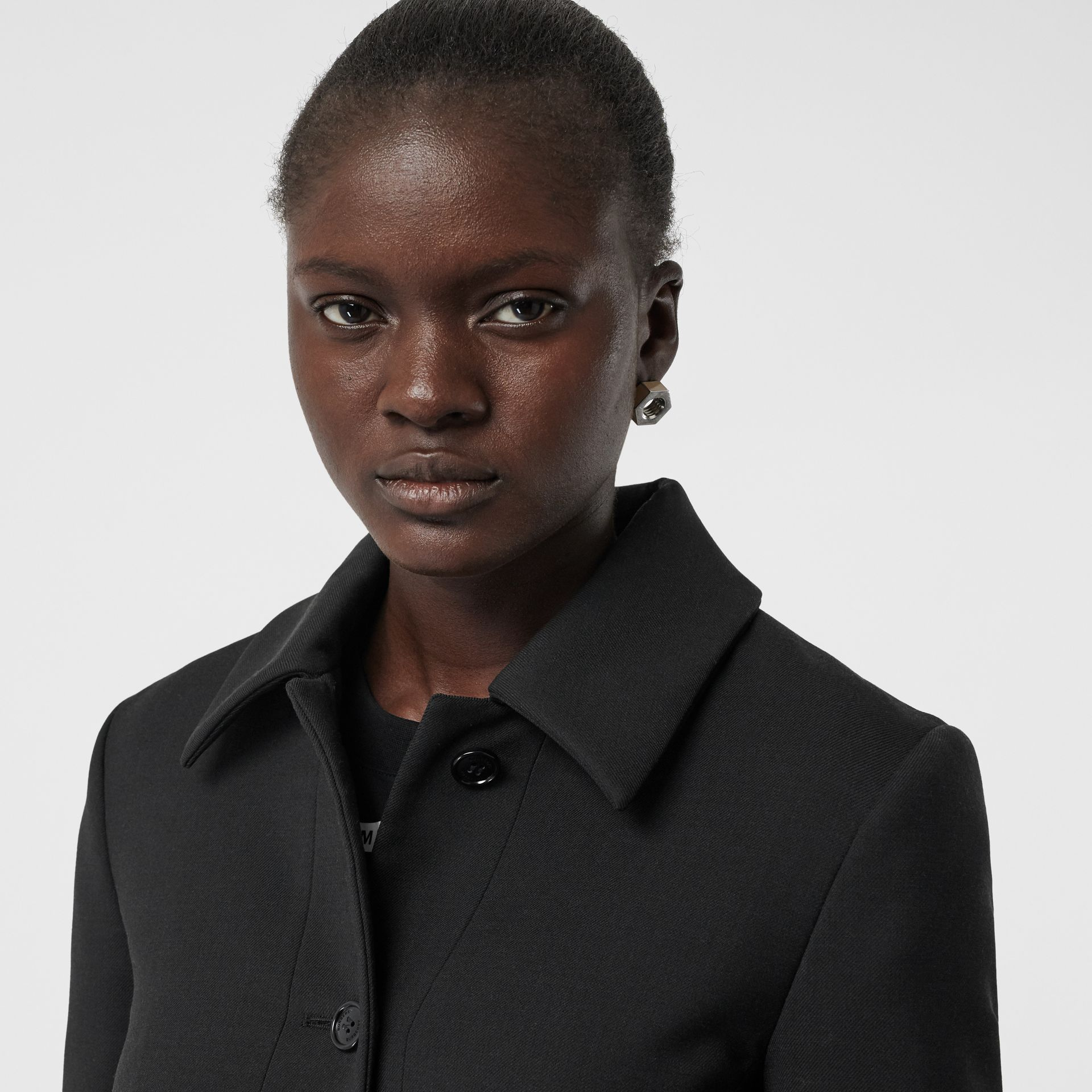 Wool Silk Tailored Coat in Black - Women | Burberry Hong Kong - gallery image 1