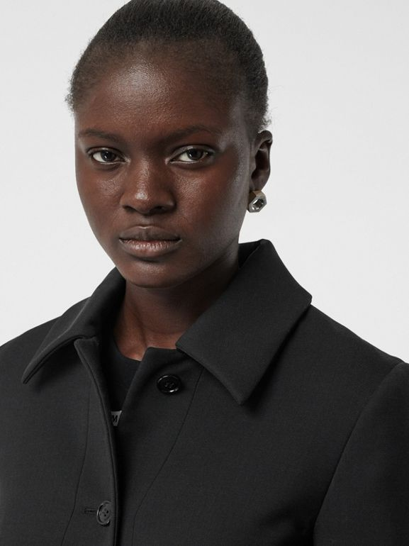 Wool Silk Tailored Coat in Black - Women | Burberry Canada - cell image 1