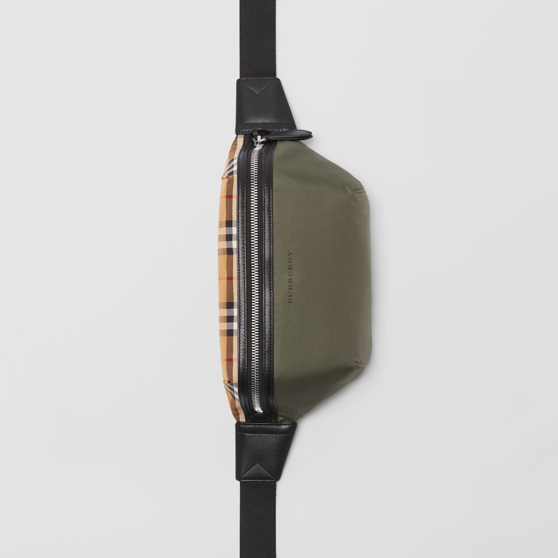 Medium Vintage Check and Nylon Bum Bag in Military Green | Burberry Australia - gallery image 0