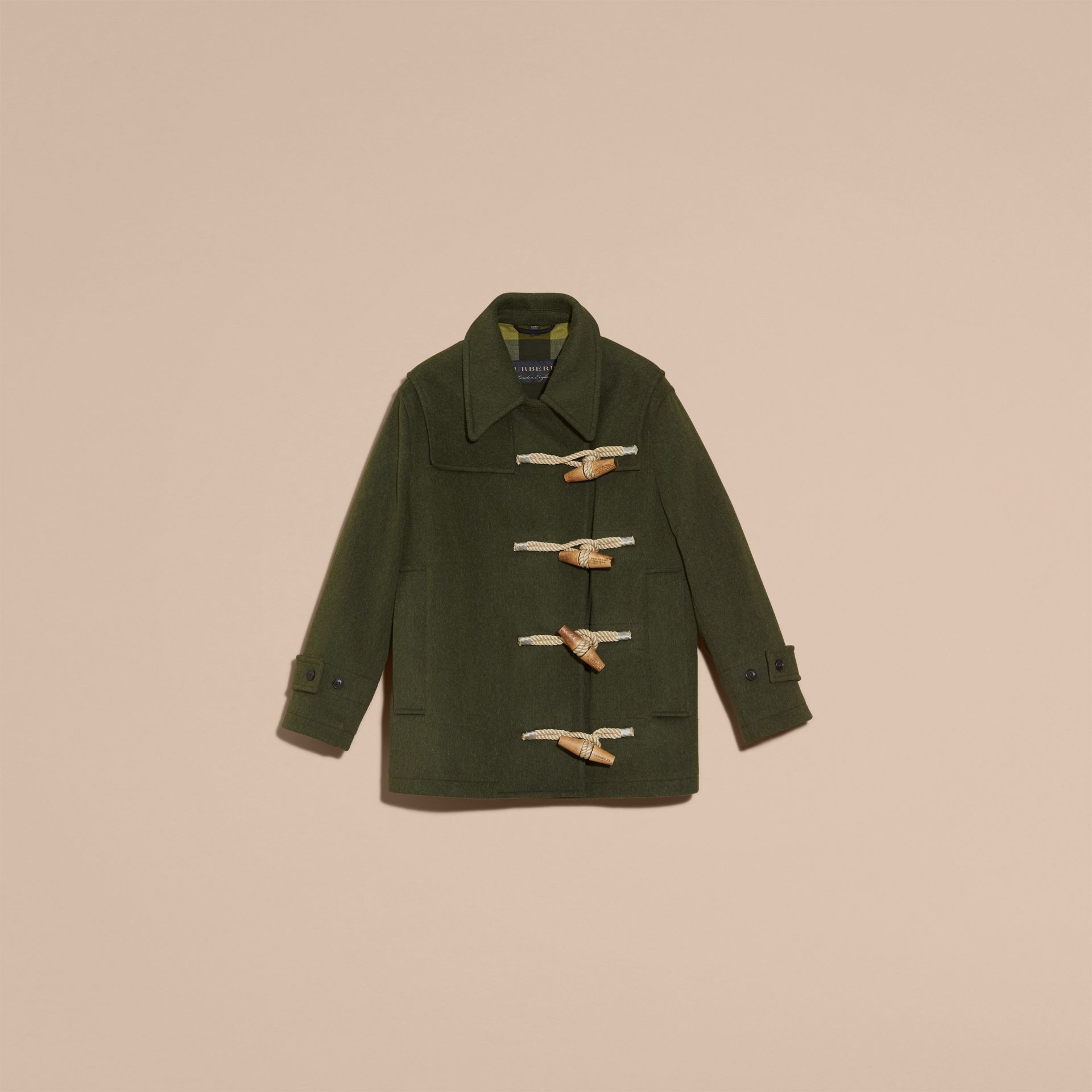 Moss green Military Wool Duffle Coat - gallery image 4