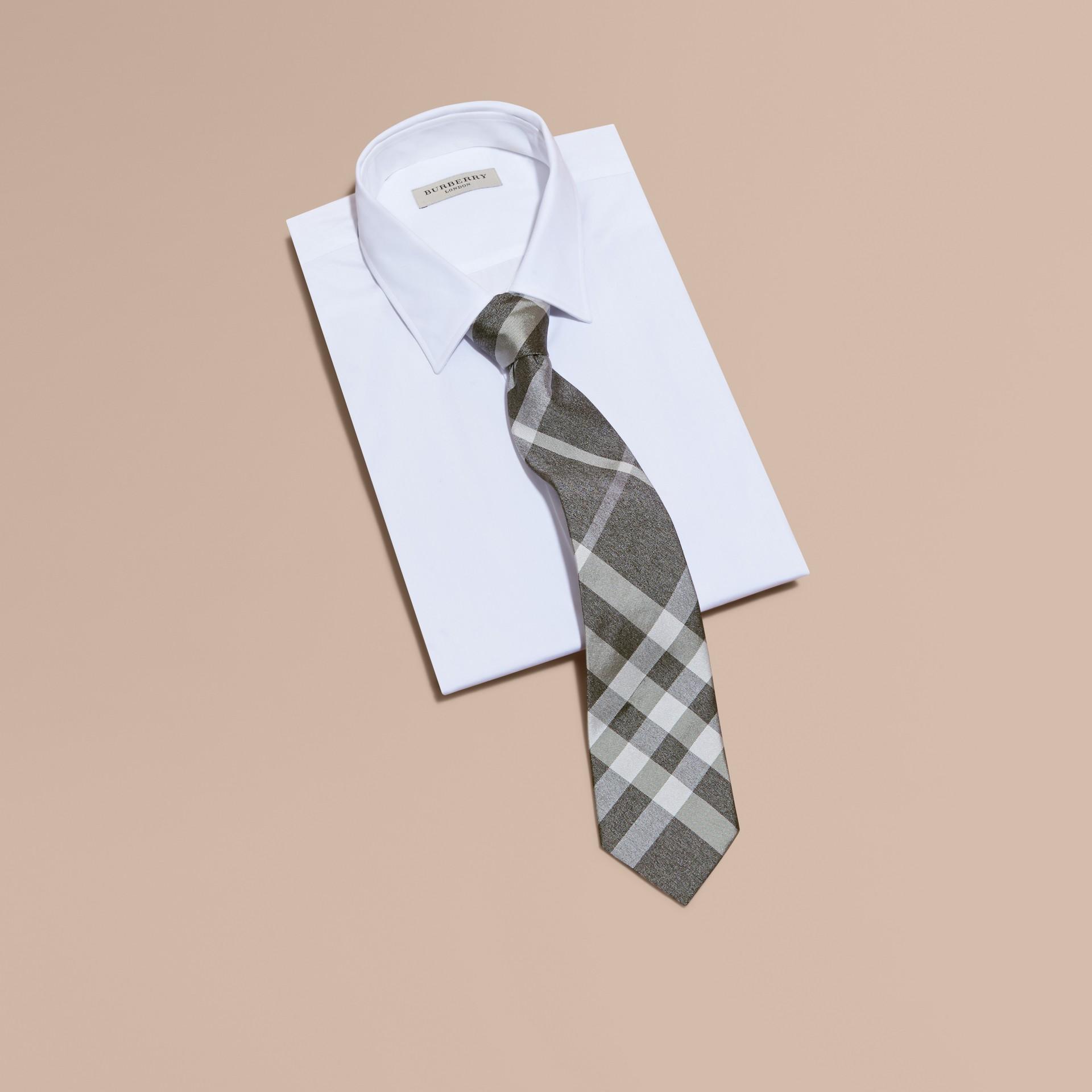 Light grey melange Classic Cut Check Silk Tie Light Grey Melange - gallery image 3