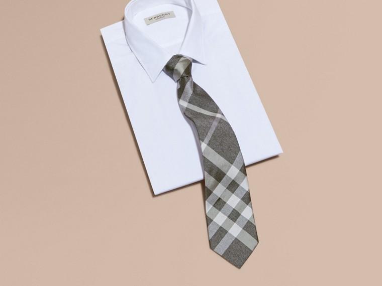Light grey melange Classic Cut Check Silk Tie Light Grey Melange - cell image 2