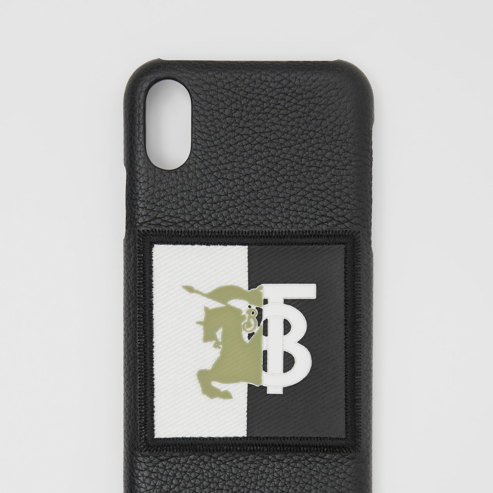 Contrast Logo Graphic Leather iPhone X/XS Case in Black | Burberry - gallery image 1