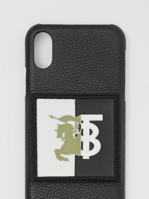 Contrast Logo Graphic Leather iPhone X/XS Case in Black | Burberry - cell image 1