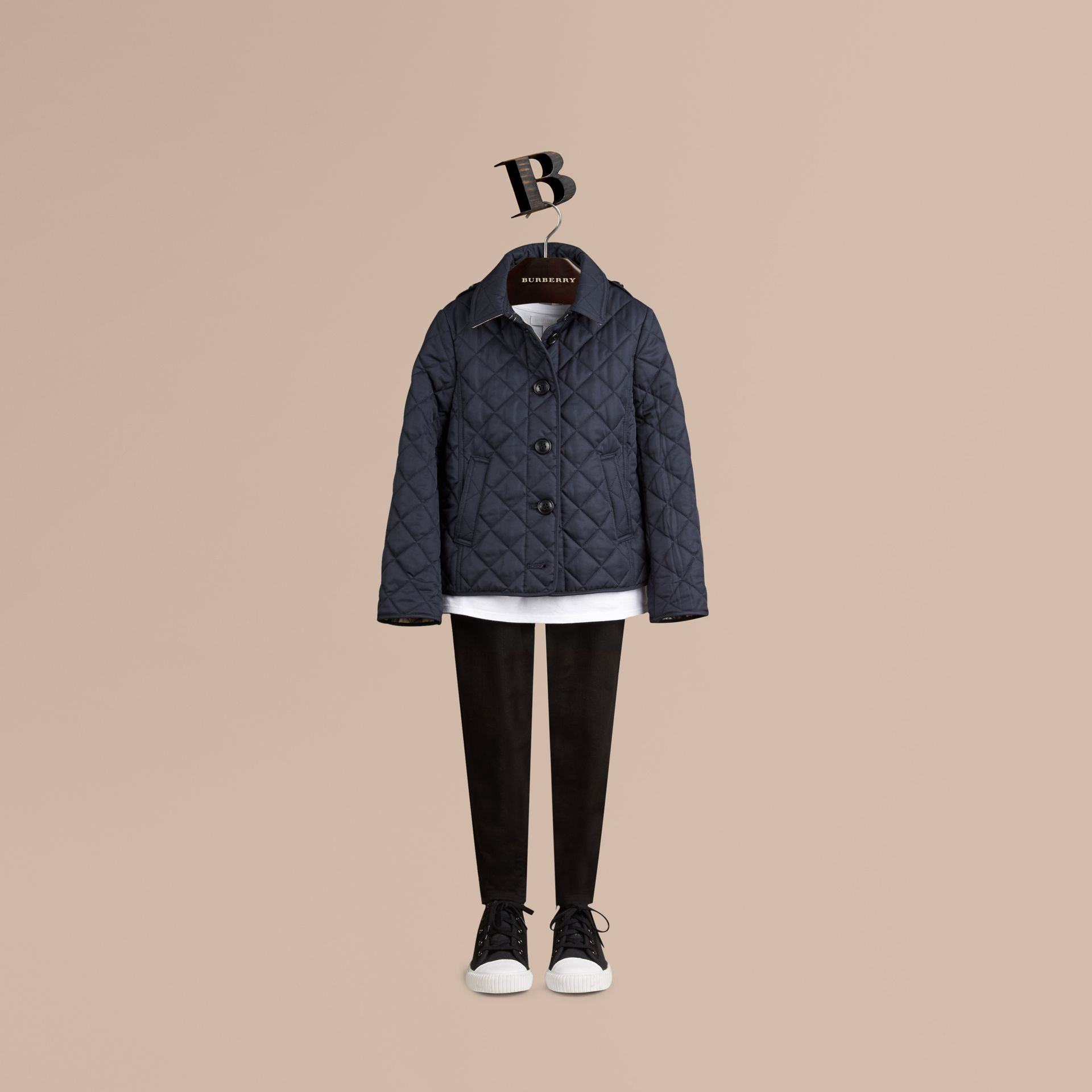 Check Lined Diamond Quilted Jacket in Navy - Girl | Burberry - gallery image 3