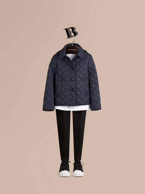Check Lined Diamond Quilted Jacket in Navy - cell image 2
