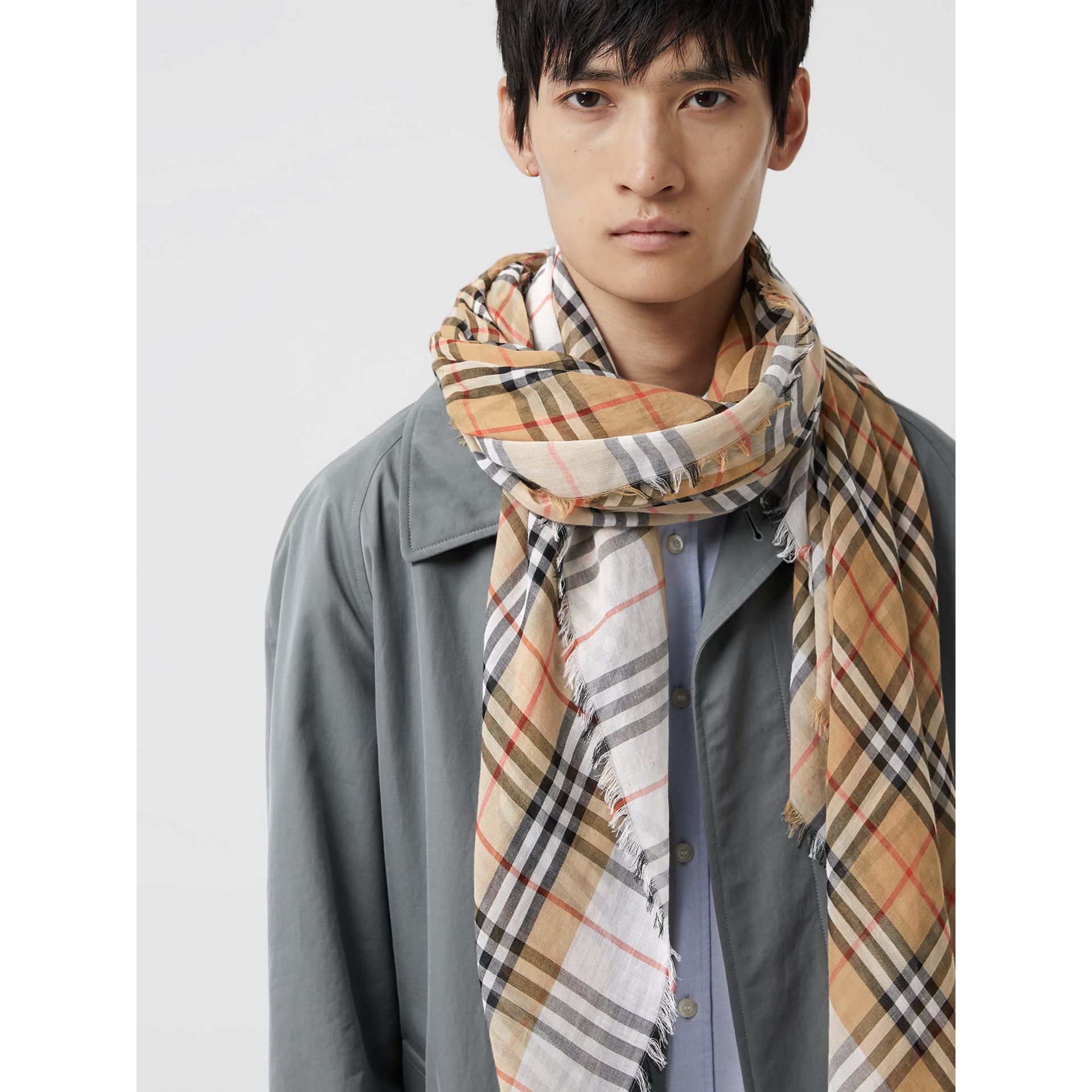 Two-tone Vintage Check Cotton Square Scarf in White | Burberry Australia - gallery image 3