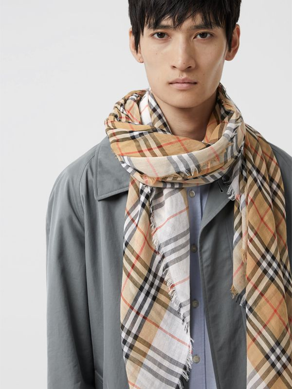 Two-tone Vintage Check Cotton Square Scarf in White | Burberry Australia - cell image 3