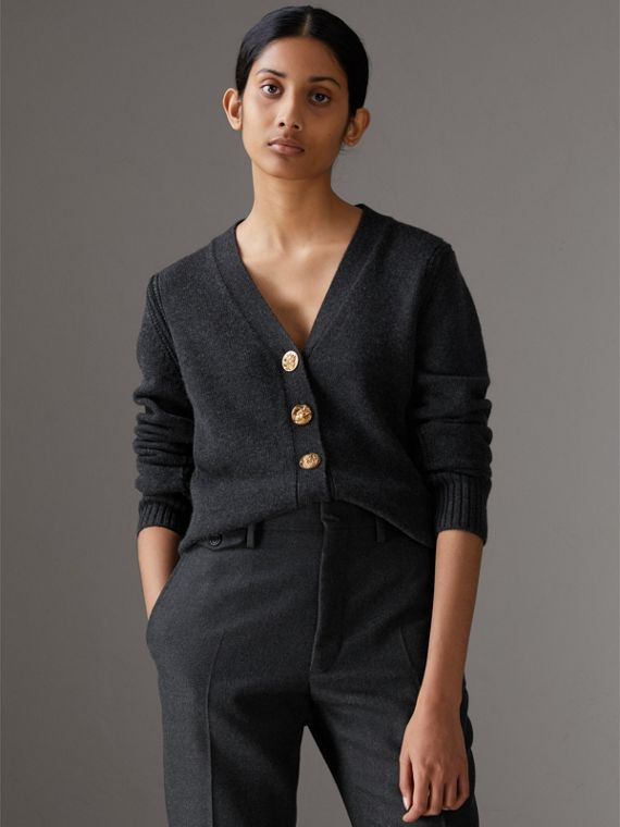 Bird Button Cashmere Cardigan in Charcoal
