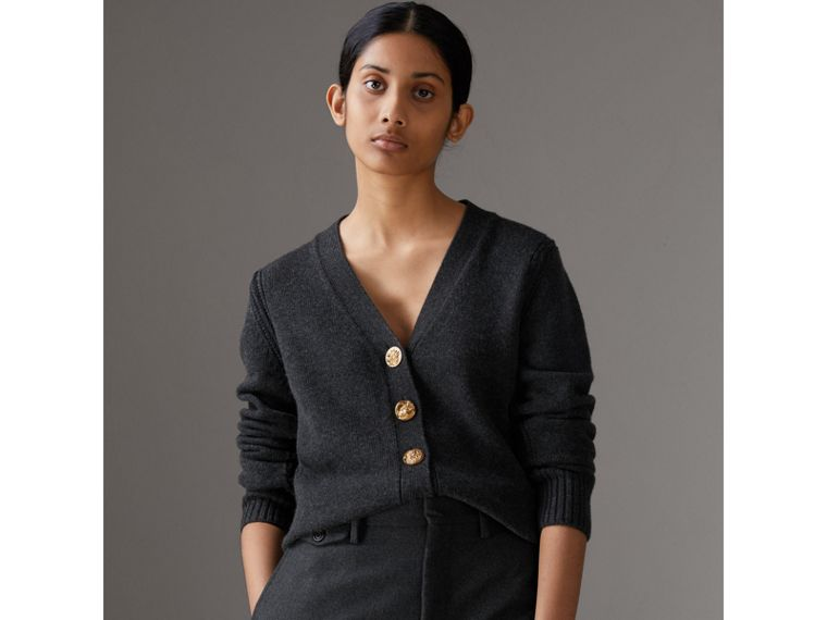 Bird Button Cashmere Cardigan in Charcoal - Women | Burberry Hong Kong - cell image 4
