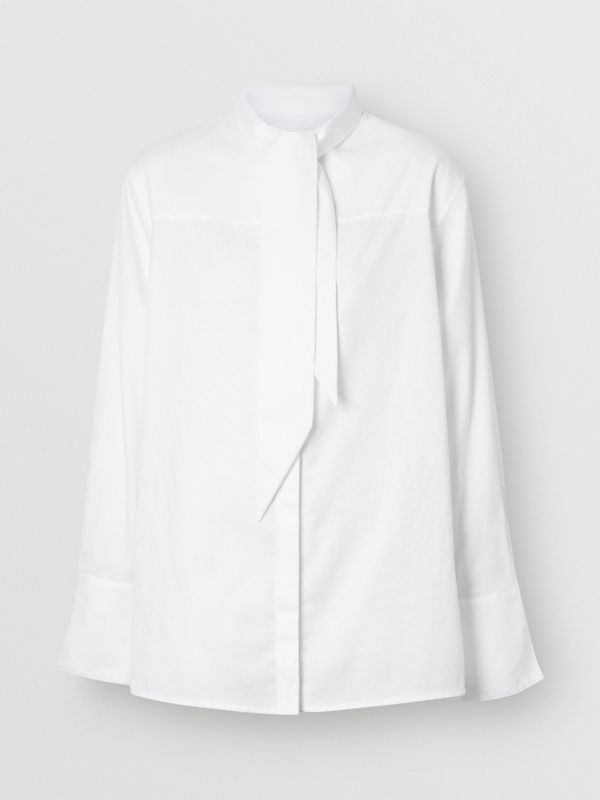 Monogram Cotton Jacquard Tie-neck Shirt in Optic White - Women | Burberry - cell image 2
