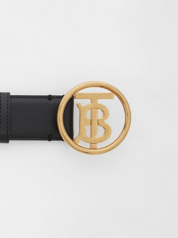 Monogram Motif Leather Belt in Black - Women | Burberry - cell image 1