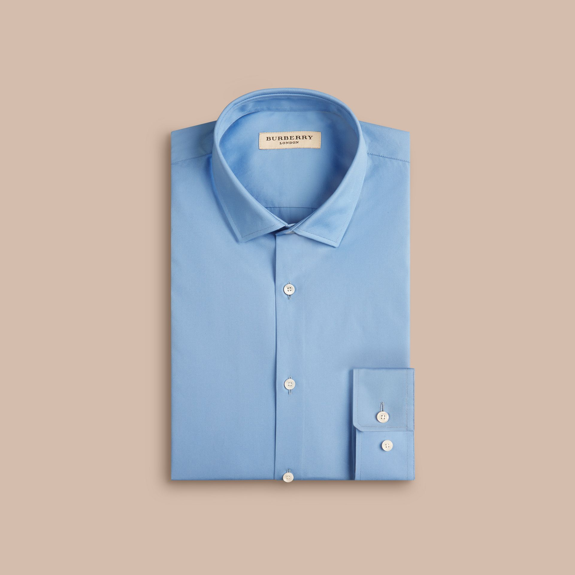 Slim Fit Cotton Poplin Shirt Mid Blue - gallery image 4