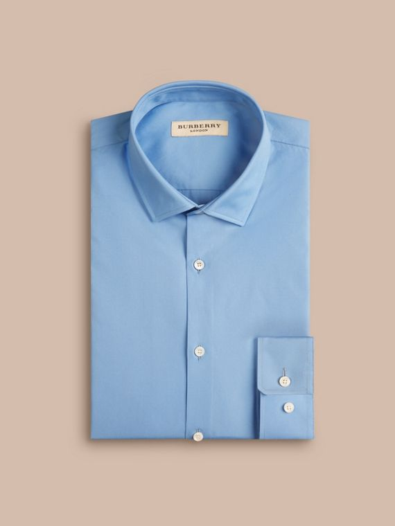 Mid blue Slim Fit Cotton Poplin Shirt Mid Blue - cell image 3