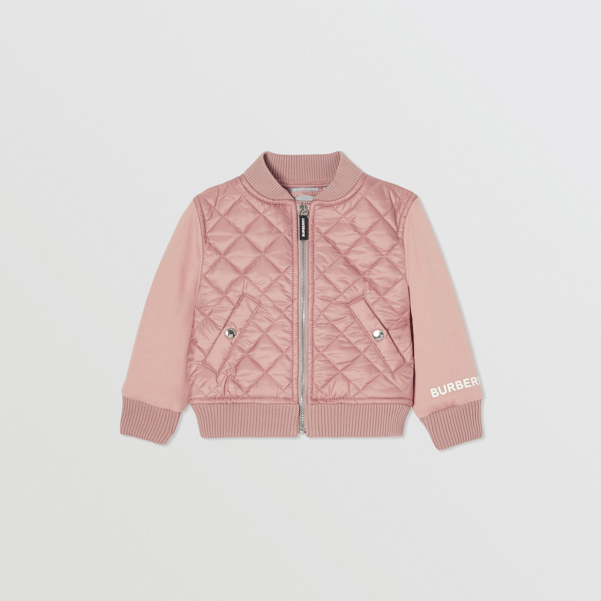 Contrast Sleeve Diamond Quilted Bomber Jacket in Lavender Pink - Children | Burberry - gallery image 0