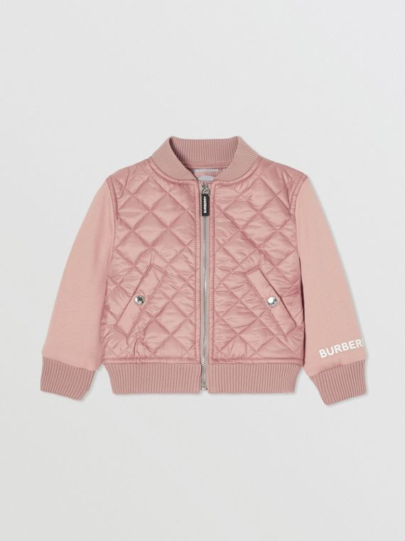 Contrast Sleeve Diamond Quilted Bomber Jacket in Lavender Pink
