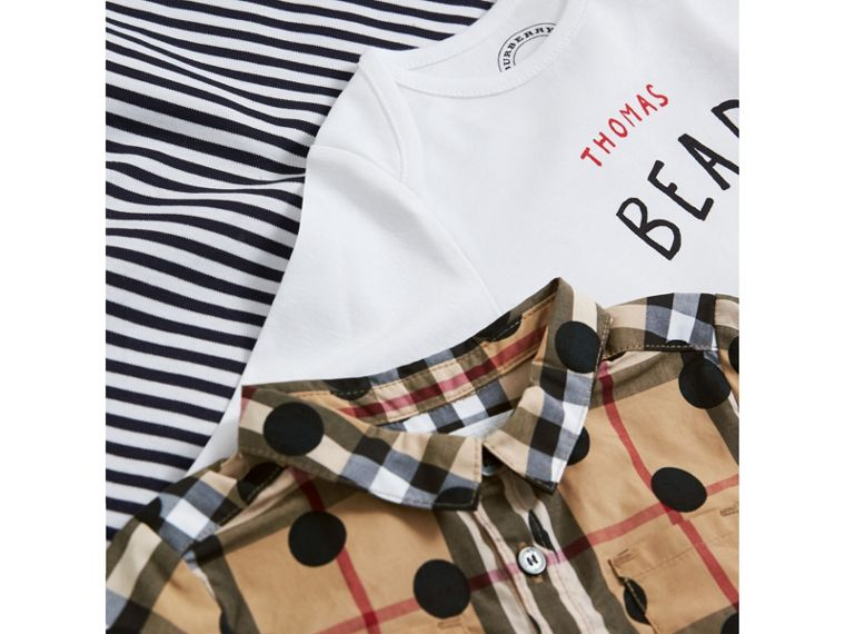 Cotton Three-piece Baby Gift Set in Navy | Burberry - cell image 1