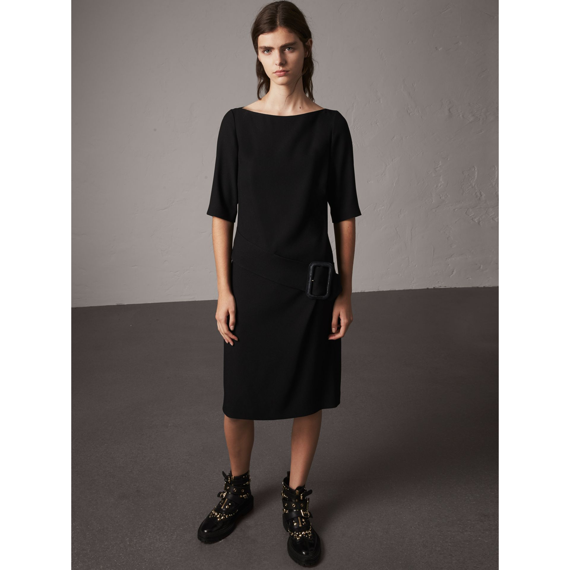 Belted Crepe Shift Dress in Black - Women | Burberry Singapore - gallery image 1