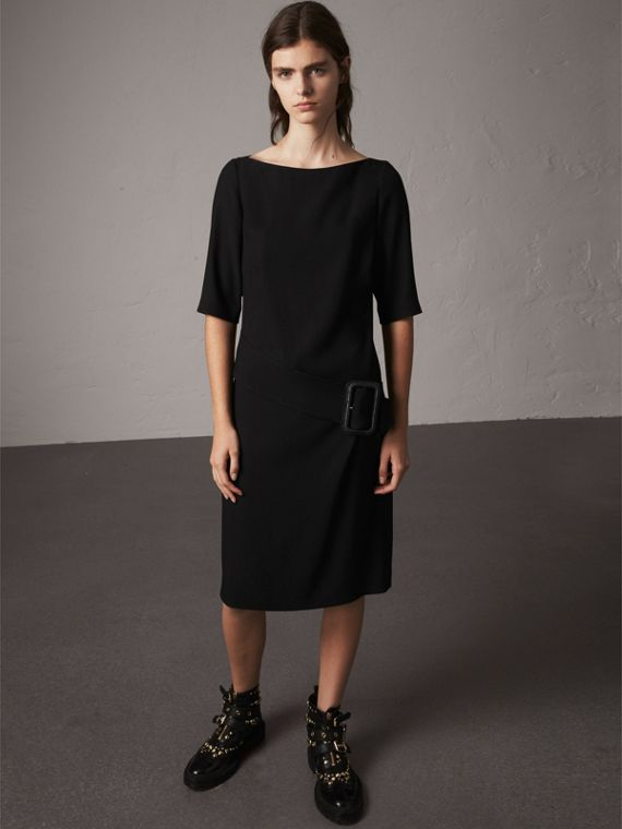 Belted Crepe Shift Dress in Black