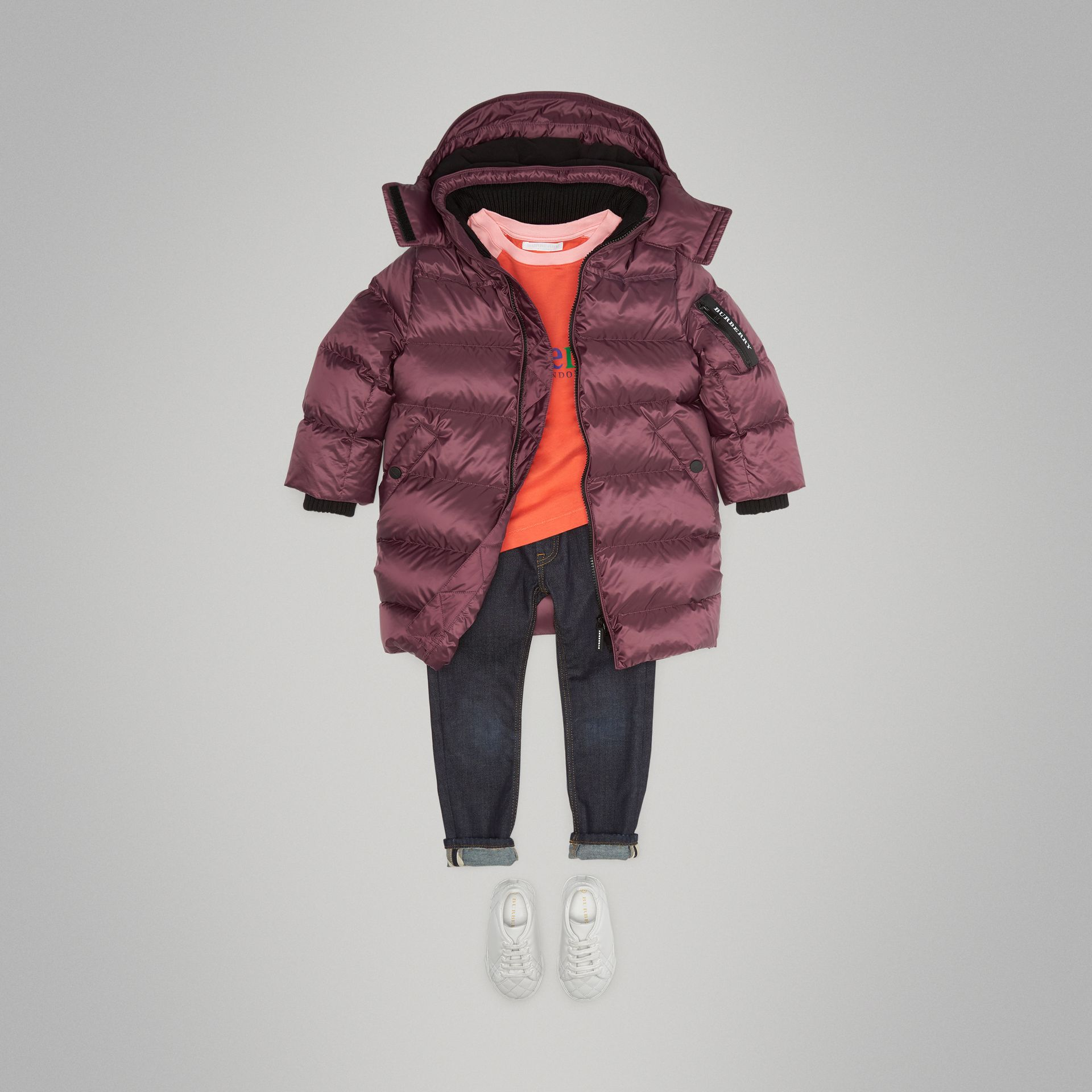 Detachable Hood Down-filled Puffer Coat in Beetroot | Burberry Australia - gallery image 2