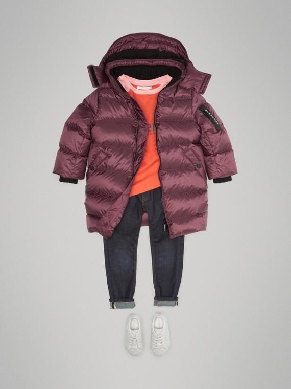 Пальто на пуху со съемным капюшоном (Свекольный)