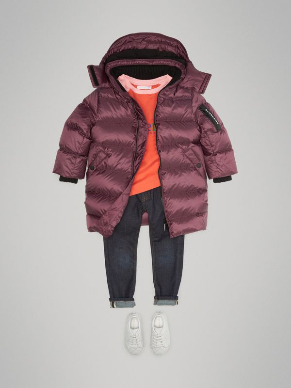 Detachable Hood Down-filled Puffer Coat in Beetroot | Burberry Australia - cell image 2