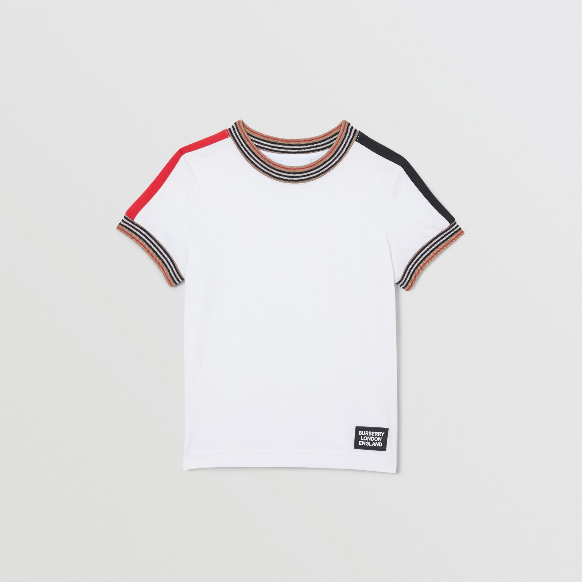 Icon Stripe Trim Cotton T-shirt in White | Burberry Singapore - gallery image 0