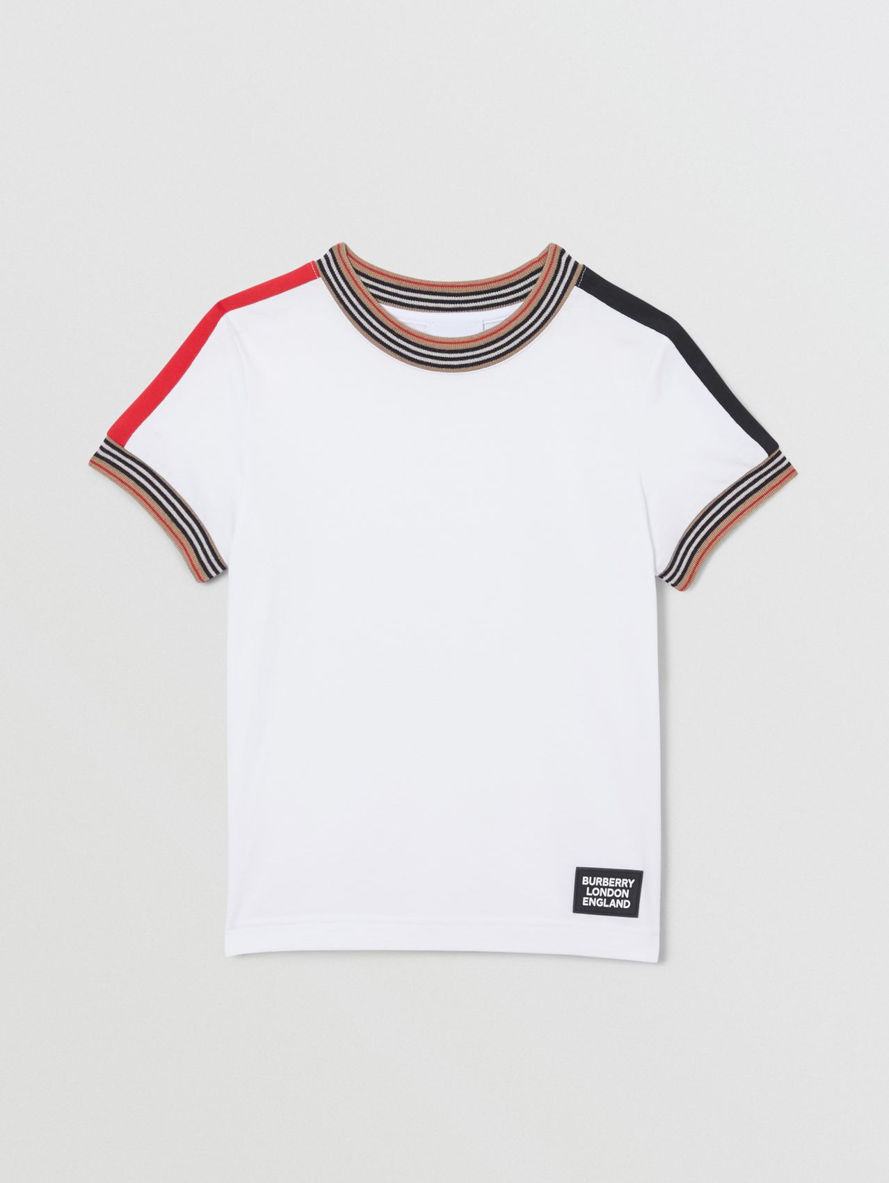 Icon Stripe Trim Cotton T-shirt in White