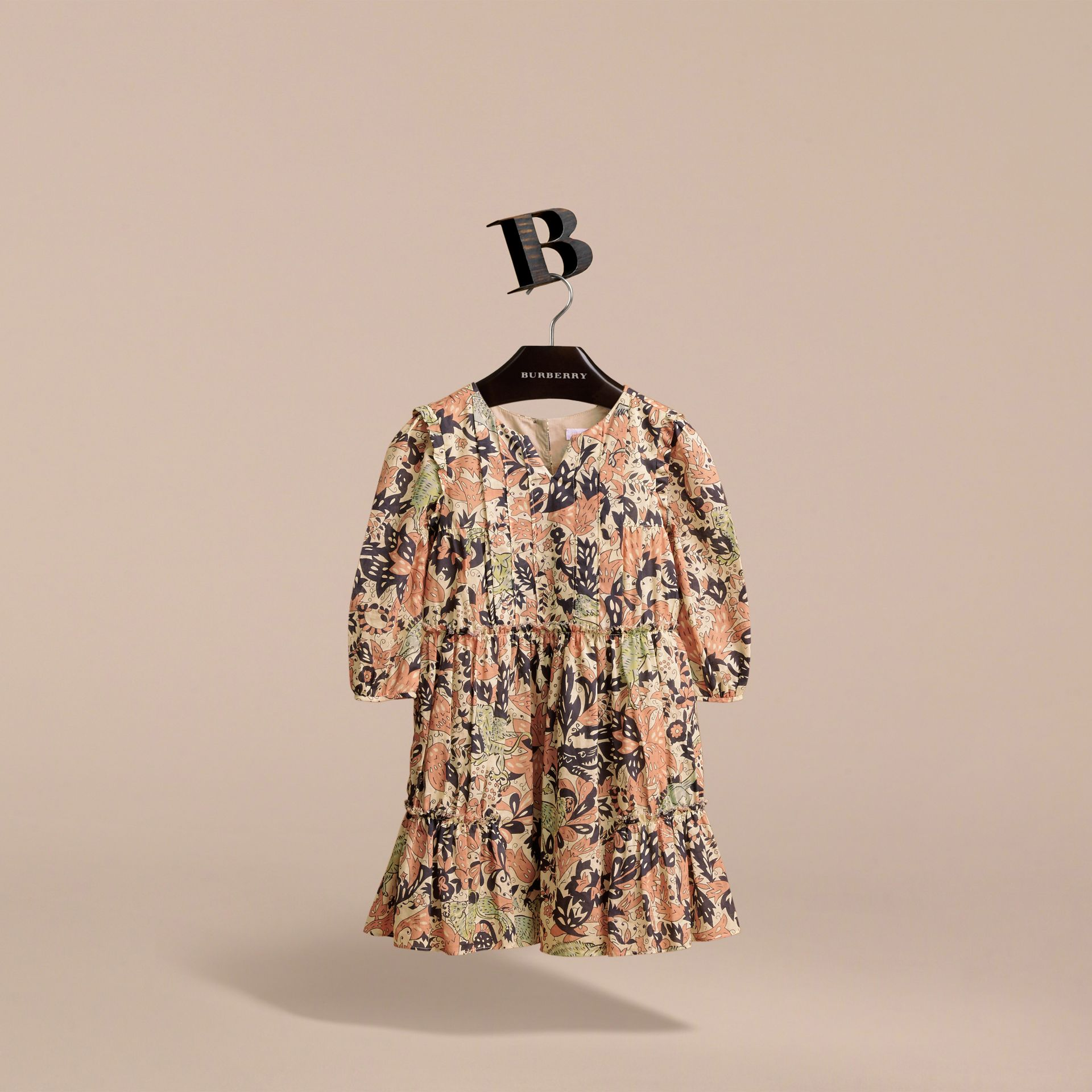 Beasts Print Cotton Gathered Dress in Antique Taupe Pink - Girl | Burberry Singapore - gallery image 4