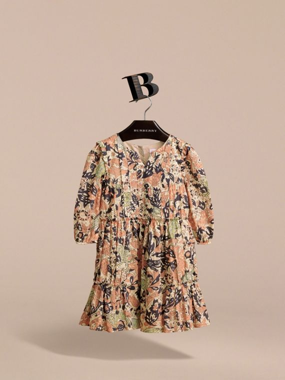Beasts Print Cotton Gathered Dress in Antique Taupe Pink - Girl | Burberry Singapore - cell image 3