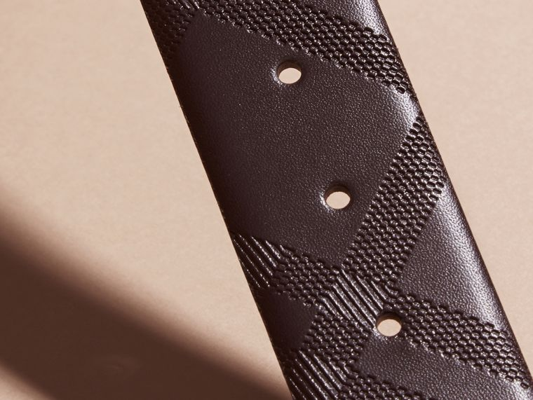 Leather Trim London Check Belt in Bitter Chocolate - Men | Burberry - cell image 2