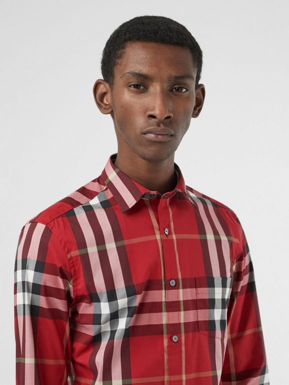 Check Stretch Cotton Shirt in Parade Red - Men | Burberry Singapore - cell image 1