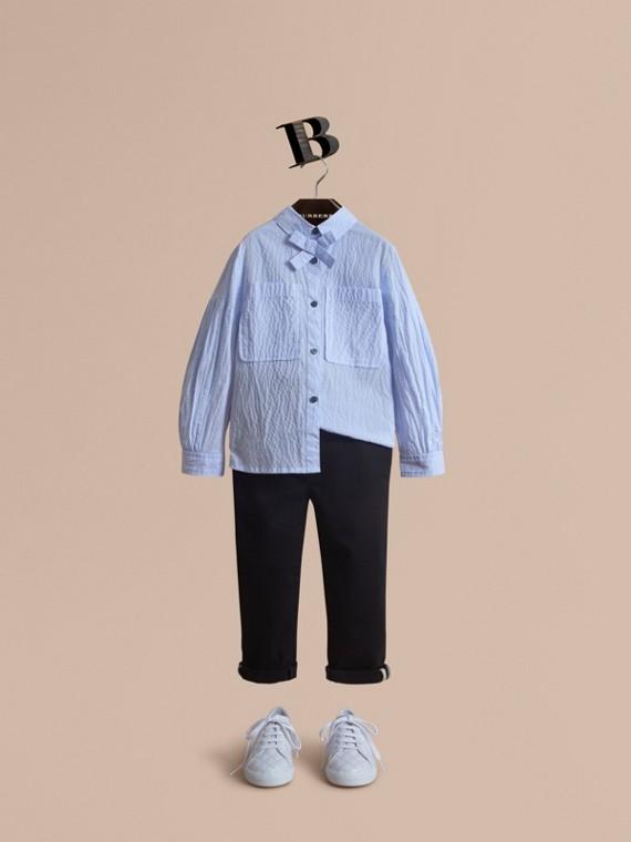 Bow Detail Striped Cotton Seersucker Shirt in Light Blue