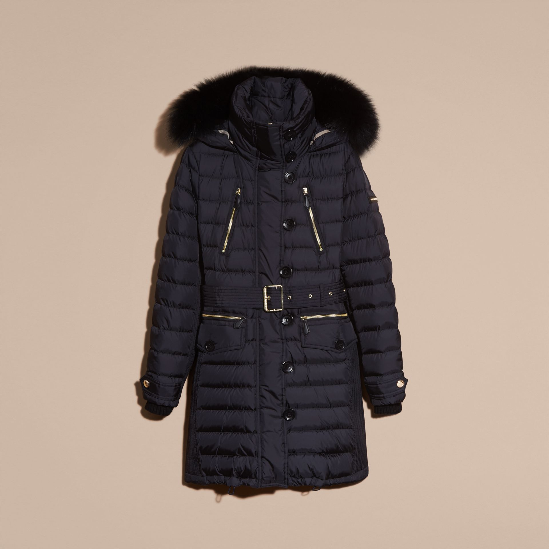 Navy Slim Fit Down-filled Parka with Fur Trim Navy - gallery image 4