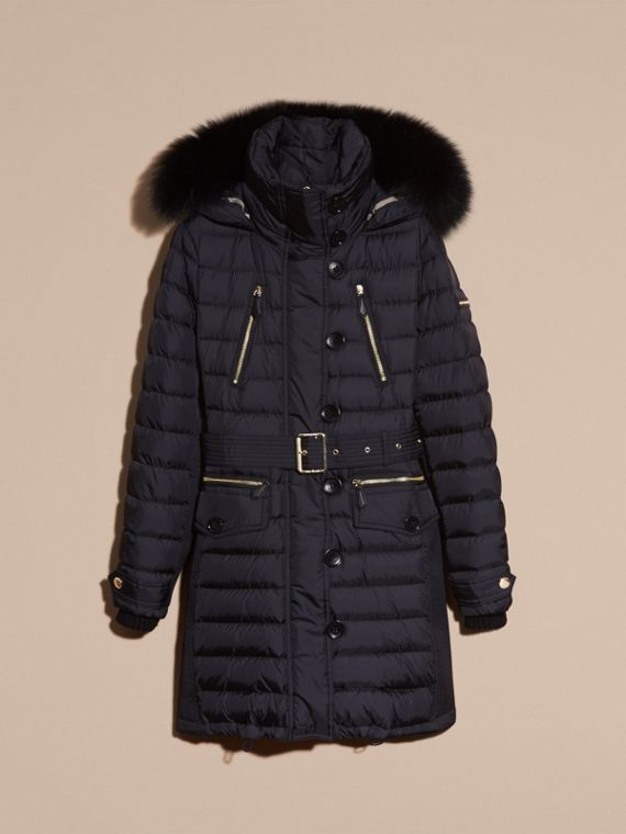 Navy Slim Fit Down-filled Parka with Fur Trim Navy - cell image 3