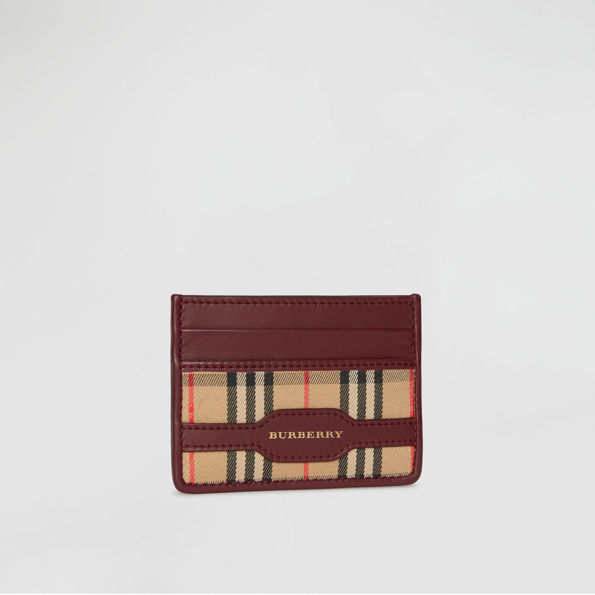 1983 Check and Leather Card Case in Antique Red - Men | Burberry - gallery image 4