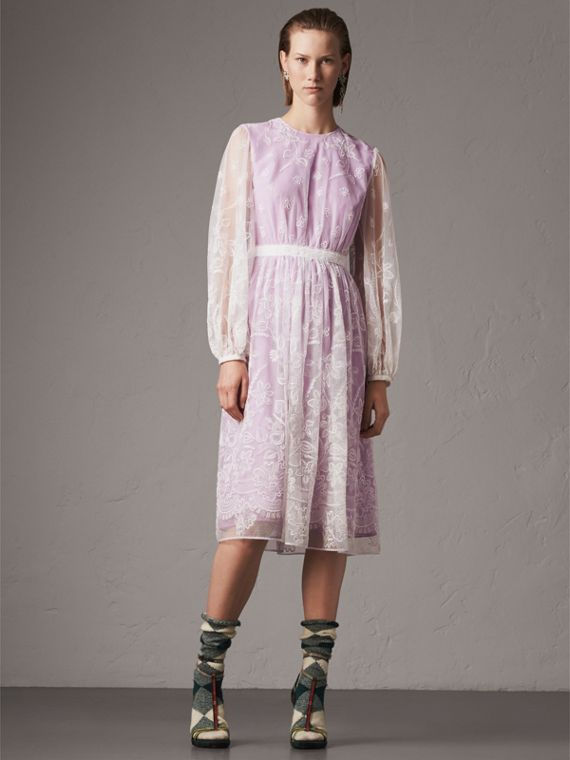 Puff-sleeve Embroidered Tulle Dress in Lilac/white