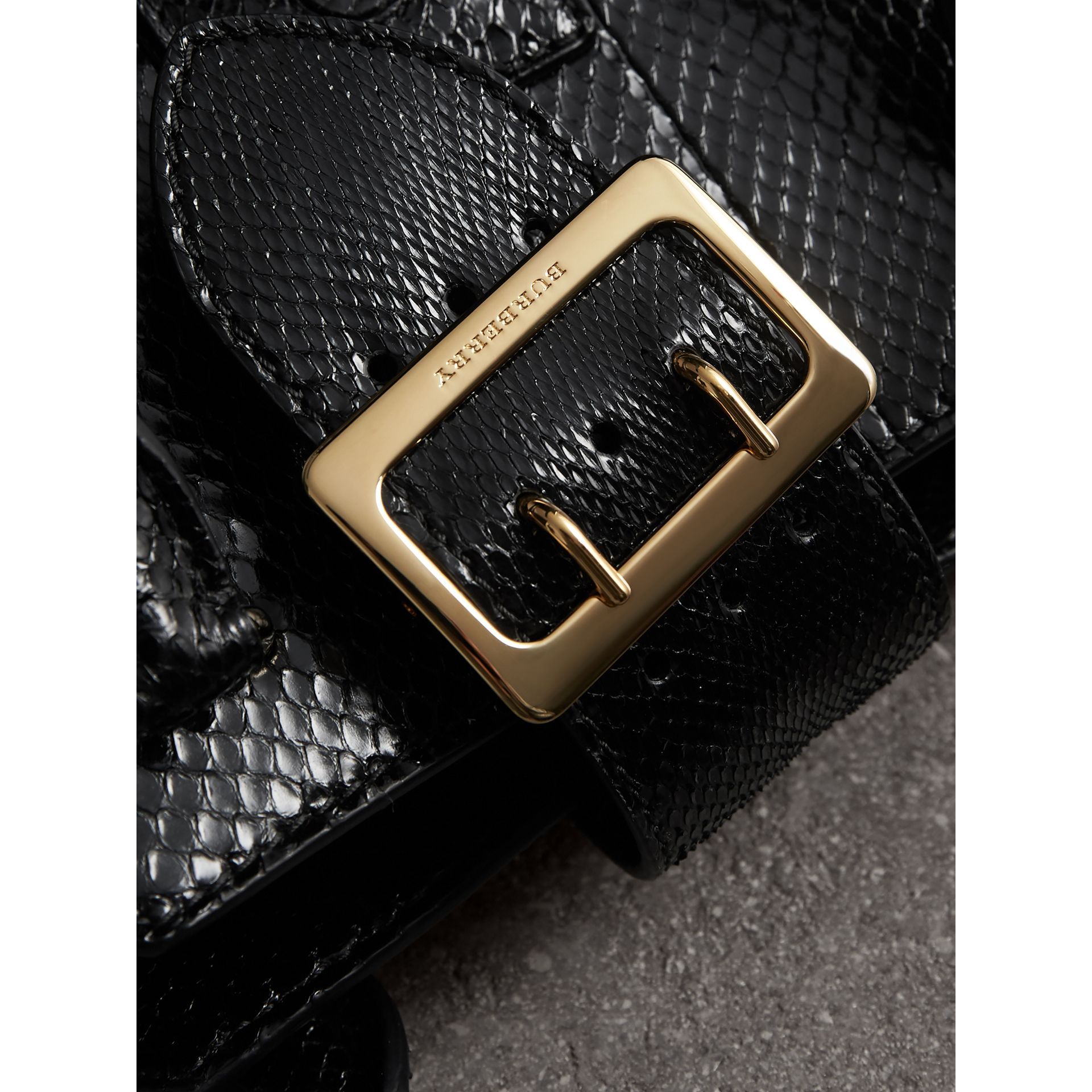 The Small Buckle Tote in Python in Black - Women | Burberry Australia - gallery image 1