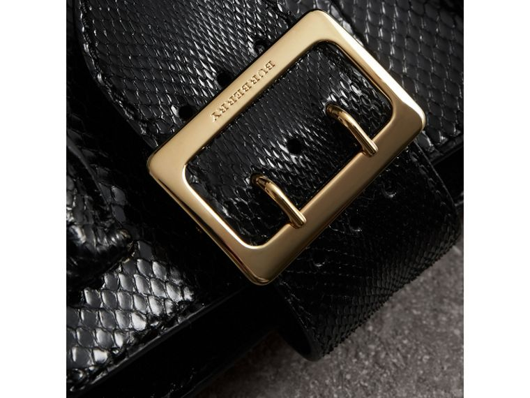 The Small Buckle Tote in Python in Black - Women | Burberry Australia - cell image 1