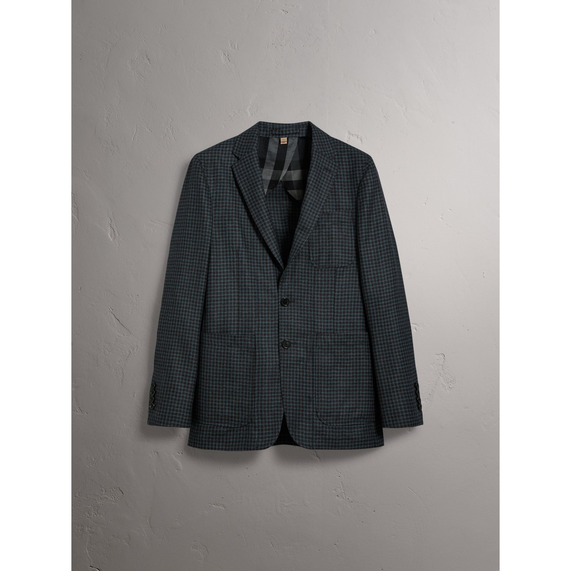 Soho Fit Micro Check Wool Flannel Tailored Jacket in Dark Grey Melange - Men | Burberry - gallery image 4