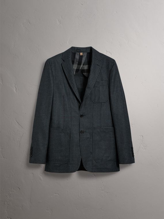 Soho Fit Micro Check Wool Flannel Tailored Jacket in Dark Grey Melange - Men | Burberry - cell image 3