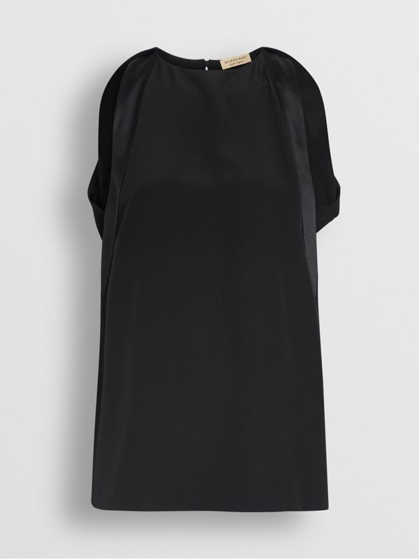 Sleeveless Panelled Silk Top in Black - Women | Burberry United Kingdom - cell image 3