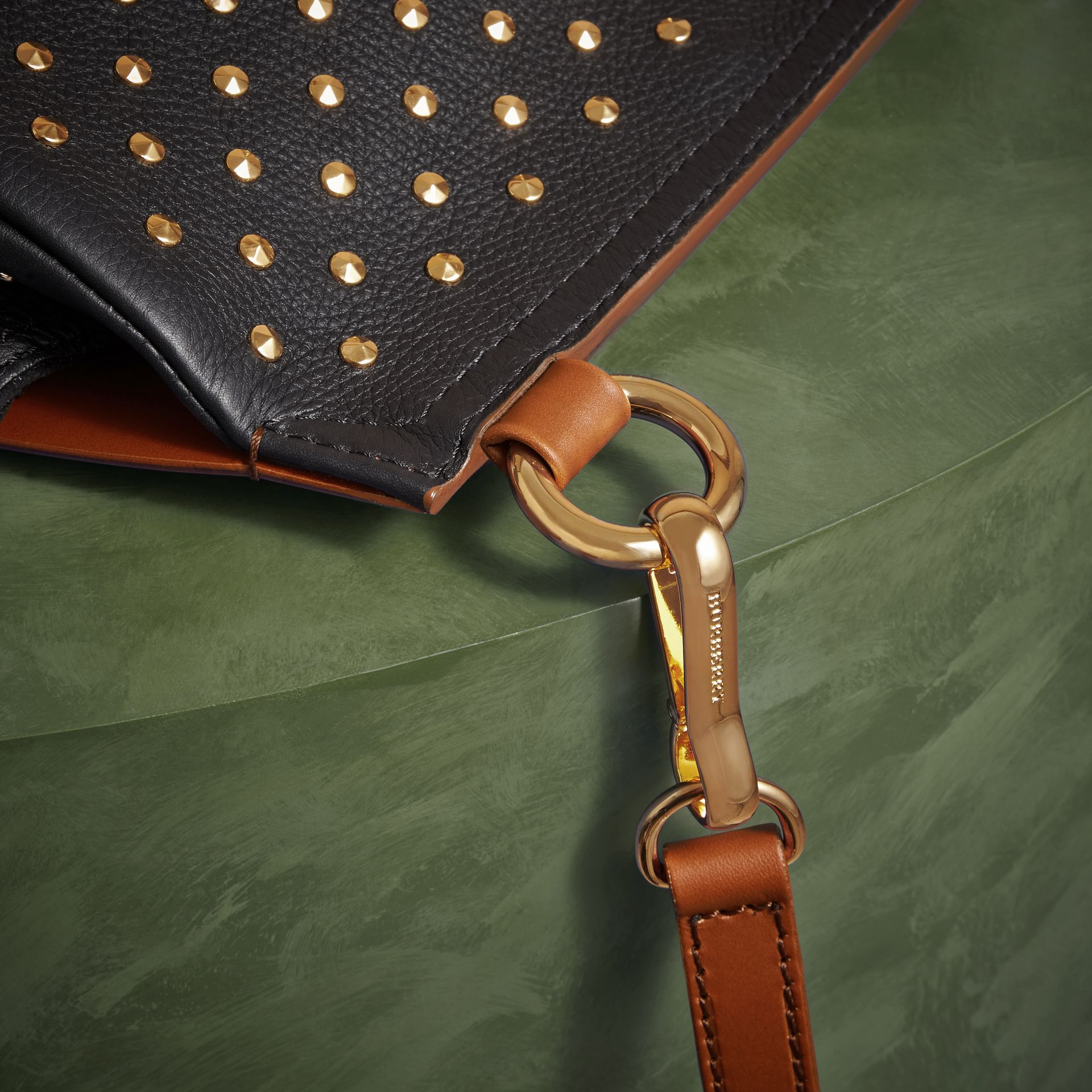 Tan The Small Bridle Bag in Riveted Leather - gallery image 6