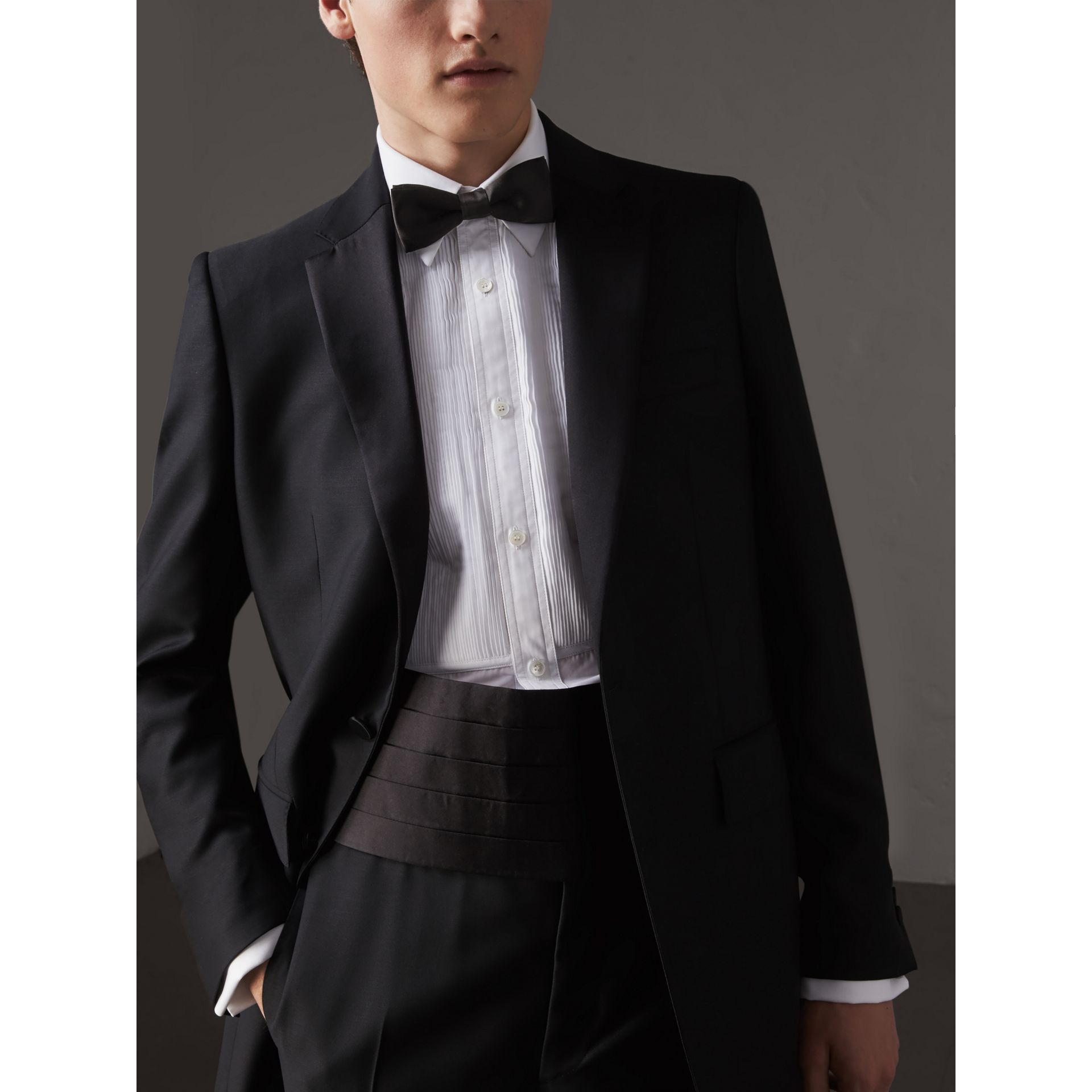 Pleated Silk Cummerbund in Black - Men | Burberry - gallery image 3