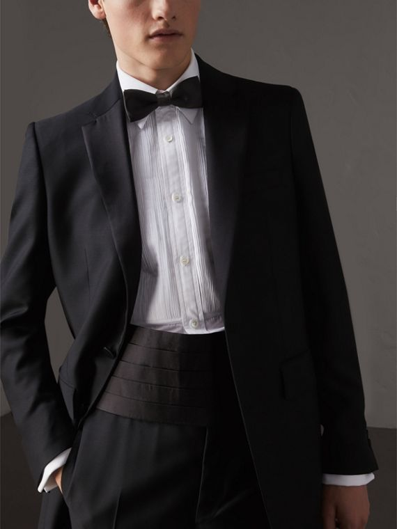 Pleated Silk Cummerbund in Black - Men | Burberry Singapore - cell image 2